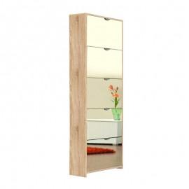 Scarpiera 5 ribalte a specchio struttura rovere sonoma 58x17xh.177 cm