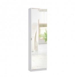 Scarpiera slim con anta a specchio bianca portascarpe 51x22xh.181 cm