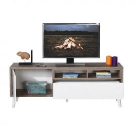 Porta tv 1 anta 1 cassetto bianco struttura rovere cm 150x40xh.50
