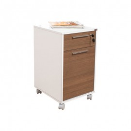 Cassettiera da ufficio 1 anta e cassetto con serratura noce e bianco 40x45xh.69 cm