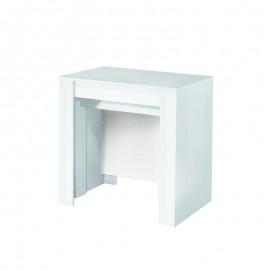 Tavolo consolle con 4 allunghe bianco lucido 78.5x54xh.78 cm