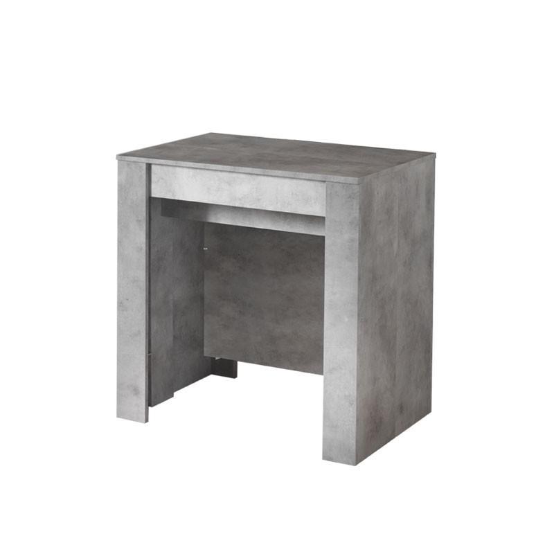 Tavolo consolle con 4 allunghe finutura cemento 78.5x54xh.78 cm