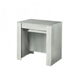 Tavolo consolle con 4 allunghe colore pino sbiancato 78.5x54xh.78 cm