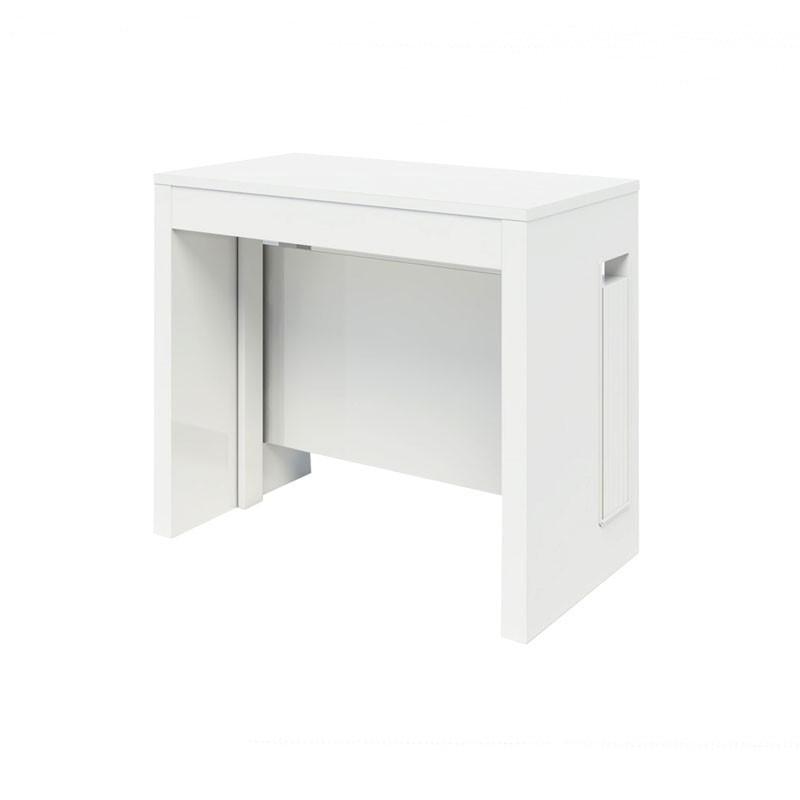Tavolo consolle con 5 allunghe bianco opaco 90x47xh.76 cm