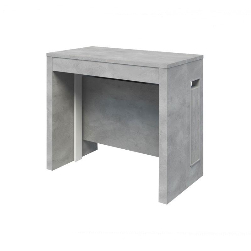 Tavolo consolle con 5 allunghe finitura cemento 90x47xh.76 cm