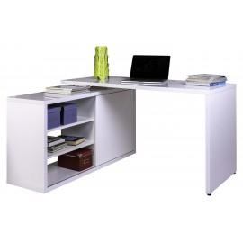 Scrivania ufficio bianca ad L con mobile reversibile cm 150