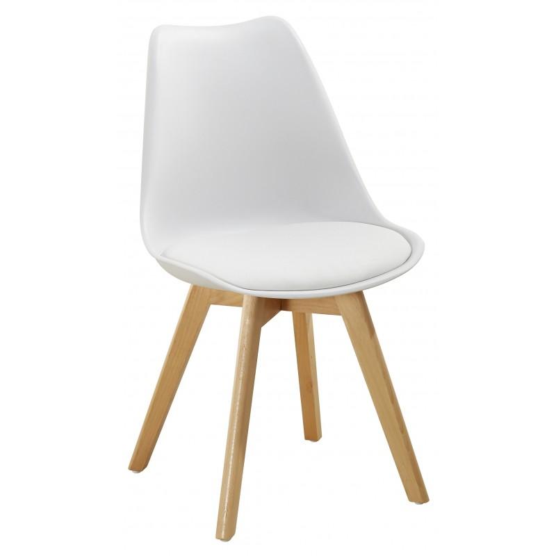 Sedia moderna in polipropilene e legno linea Soft bianca
