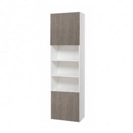 Colonna libreria bianca con ante larice in legno nobilitato cm 60x32xh. 210 cm