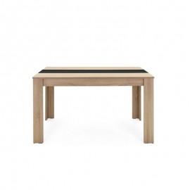 Tavolo da pranzo colore rovere inserto nero o bianco reversibile 138x80xh.74 cm