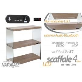 Scaffale in vetro e mdf a led con bluetooth legno cm 74 x 29 x 81 h