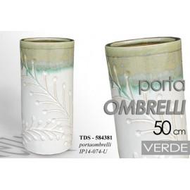 Portaombrelli in ceramica bianco e verde con fiori design cm 50 h