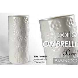 Portaombrelli in ceramica bianco fiori design cm 50 h
