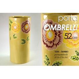 Portaombrelli in ceramica giallo fiori design cm 50 h
