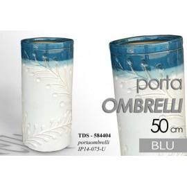 Portaombrelli in ceramica bianco blu fiori design cm 50 h