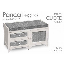 Panca in legno con seduta imbottita grigio bianca cm 70