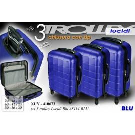 Set tre valigie in abs lucido bluette cm 70 / 60 / 50