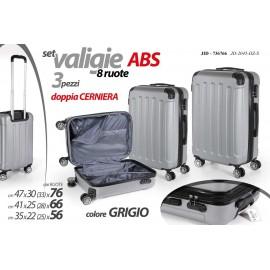 Set tre valigie in abs doppia cerniera otto ruote