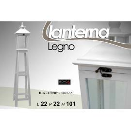 Piantana lanterna in legno bianca stile shabby retrò cm 101 h