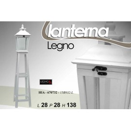 Piantana lanterna in legno  stile shabby retrò cm 138 h