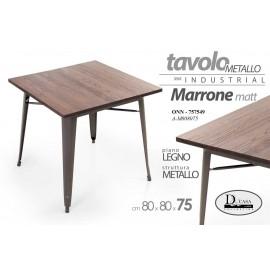Tavolo  moderno in legno e ferro stile urban cm 80 x 80