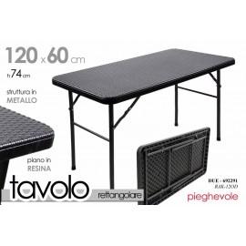 Tavolo in resina pieghevole grigio esterno interno  salvaspazio cm 122 x 60