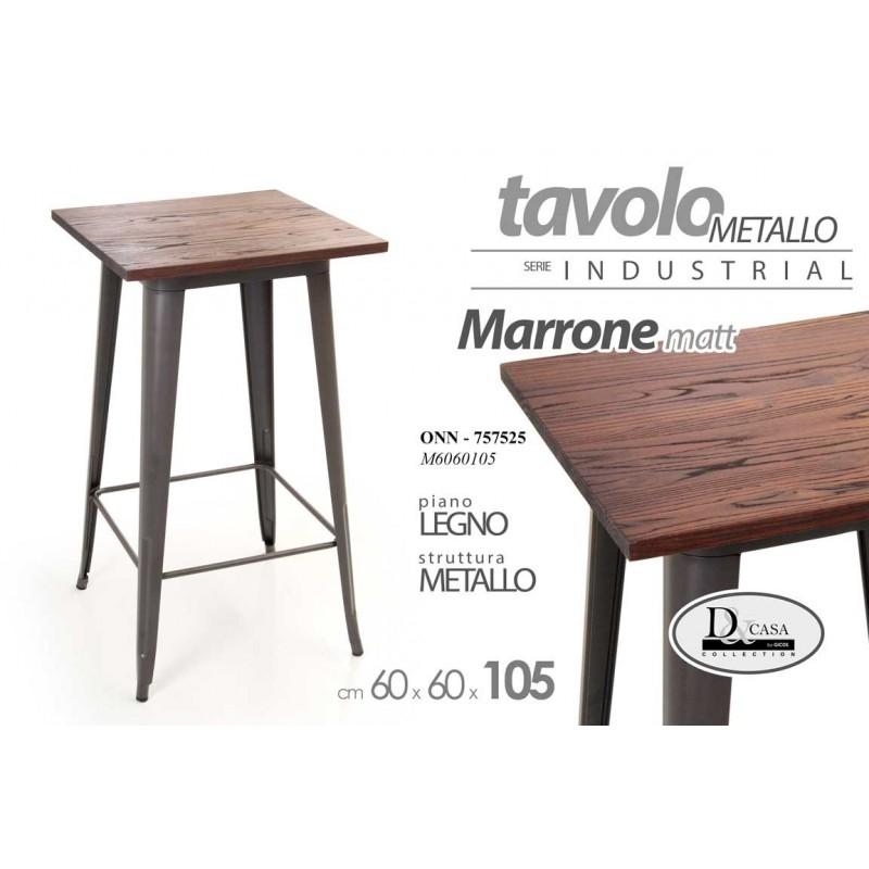 Tavolo Quadrato Cm 60 X 60 In Legno E Metallo Marrone