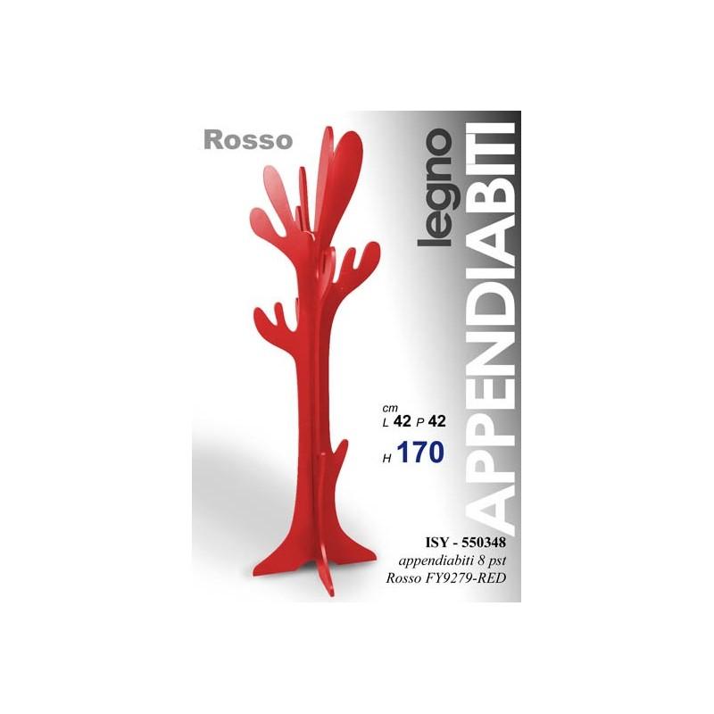 Appendiabiti piantana da terra in legno rosso cm 170 h - WebMarketPoint.it