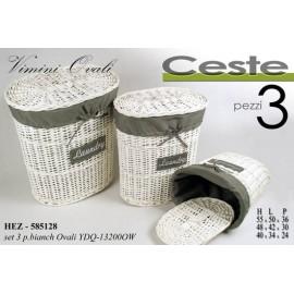 Set tre ceste ovali portabiancheria bianco con tessuto
