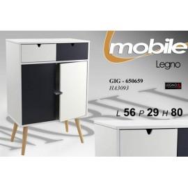 Mobile da soggiorno bianco grigio piedini in legno design cm 80 h