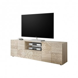 Porta TV 2 ante 1 cassetto  finitura rovere serigrafato L.181 P.42 H.57 cm