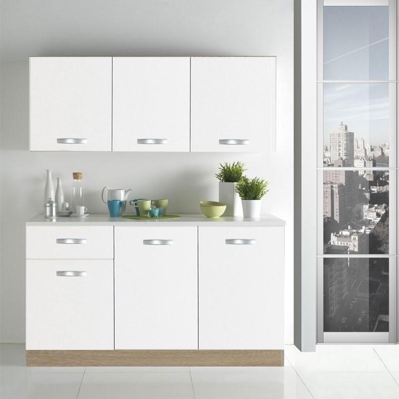Composizione da cucina completa di lavello finitura bianco lucido larga 150 cm