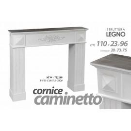 Cornice finto camino stile shabby cm 110 x 23 x 96