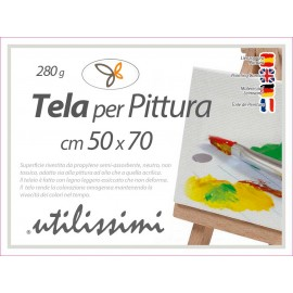 Tela per pittura con telaio quadro cm 50 x x70 gr 280