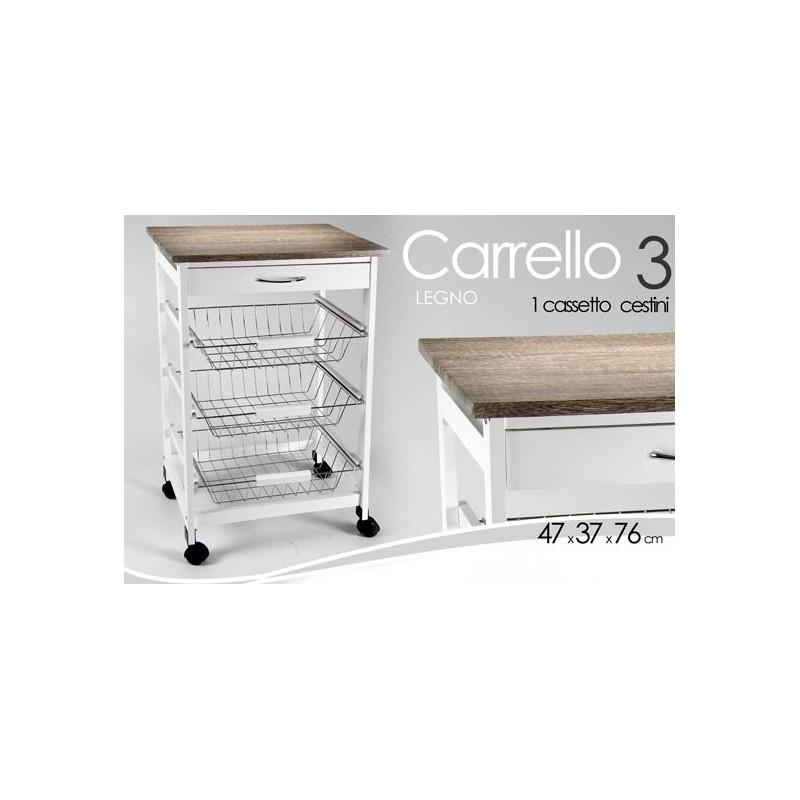 Carrello da cucina bianco con cesti e rotelle cm 47 x 37 x 76 h -  WebMarketPoint.it