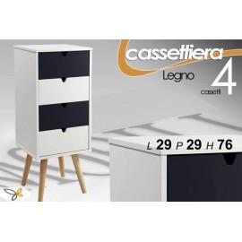 Mobile cassettiera con piedini legno bianco grigio cm 29 x 29 x 76 h