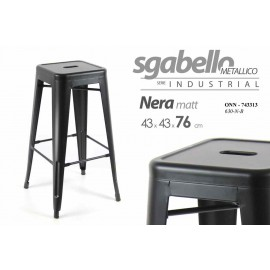 Sgabello design bar in metallo nero cm 43 x 43 x76
