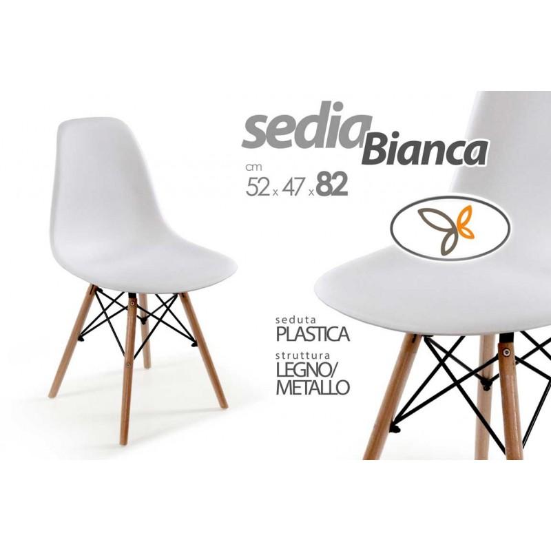 Sedia in legno in tinta rivestita in ecopelle vintage for Sedia design bianca