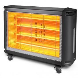 Stufa elettrica a quarzo 4 elementi nero con termostato h.58 cm