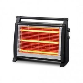 Stufa elettrica a quarzo 3 elementi con termostato nero h.44 cm