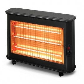 Stufa elettrica a quarzo 3 elementi nero con termostato regolabile h.59 cm