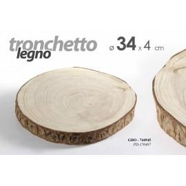 Tronco tronchetto in legno vassoio decorazione cm 34