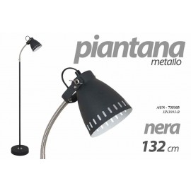 Piantana moderna lampada da terra nera cm 132 h