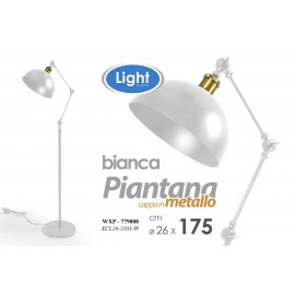 Piantana bianca moderna lampada da terra industrial cm 26 x 175 h