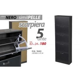 Scarpiera 5 ribalte slim ecopelle nero design cm 180