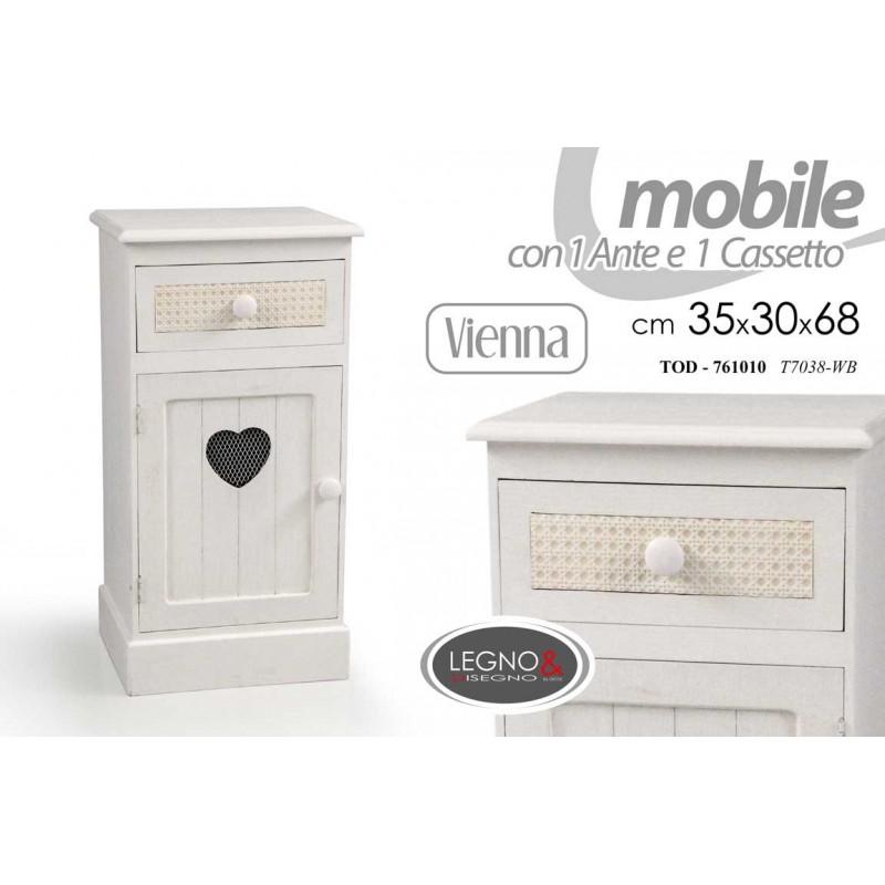 Mobile Da Ingresso Anticato Shabby Bianco Con Cuore Cm 35x 30 X 68 H