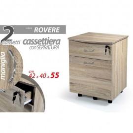 Cassettiera Da Ufficio Rovere Con Cassetti Chiave E Rotelle Cm 42 X 40 X 55 H